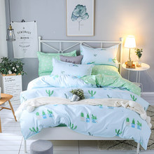 Bedding set Queen size 4pc Duvet cover sets Twin Full size Polyeter Duvet Cover Home Textile Wholesale Cactus green pink(China)