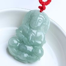 A Grade Light Green Goddess of Mercy Bodhisattva, Pendant With National Certificate,Free shipping.(China)
