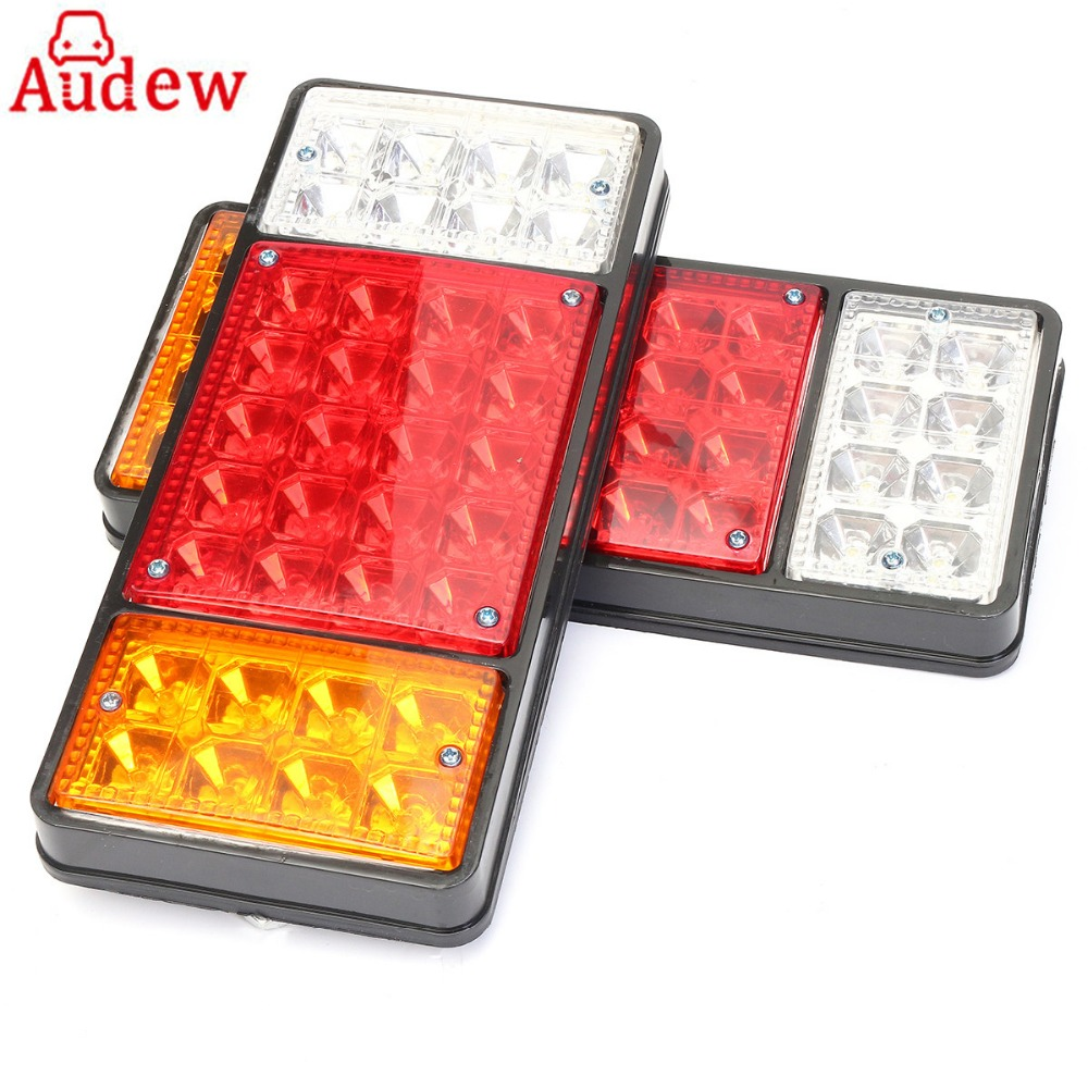 1 Pair 12v 36 LED Trailer Truck Waterproof Tail Brake Stop Light Red Yellow Blue Rear Tail Indicator Reverse Lamps Lights<br>