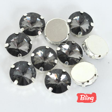 8mm 10mm 12mm 14mm 16mm Black Diamond Round Rivoli Sewing With Claw Setting Glass Sew on Stone Garment accessories Y1782