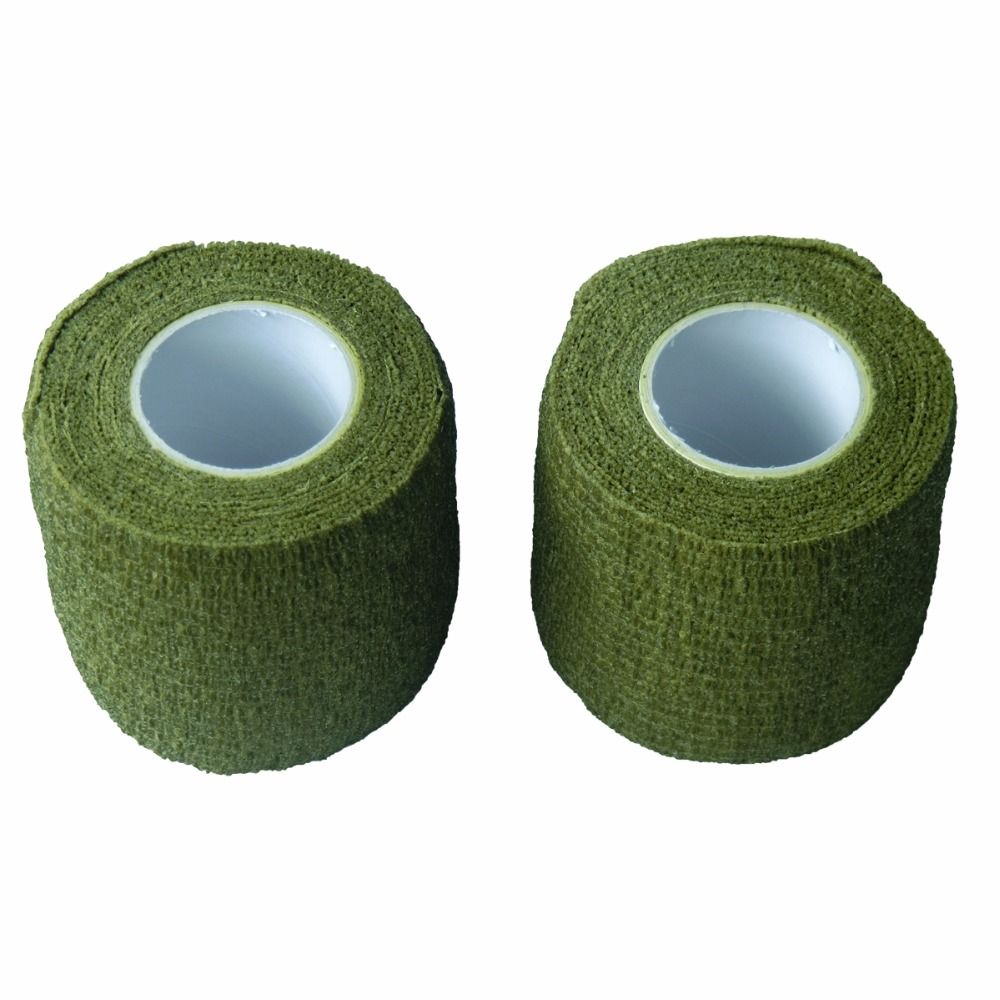 24 Rolls 5cm x 4.5m Army Green Nonwoven Cohesive Tape Self Adhesive Elastic Bandage Sports Support Adherent Strap<br>