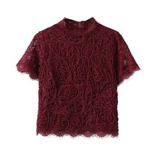 Summer Lace T-shirt Women Short Sleeve Female Tee Tops Sexy Embroidery Shirt Customes Women
