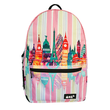 Beautiful Landscape Backpack For Teenager Lady Girls Printing With Colorful Tower Building Cute Pink School bag Backpacks