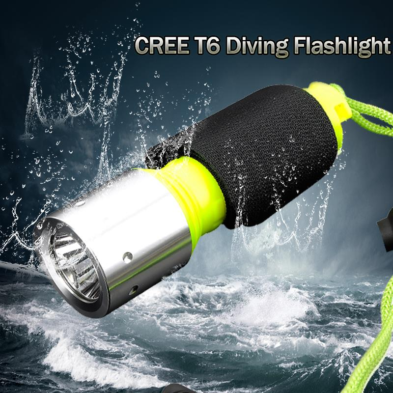 LED Diving Flashlight Tactical Flashlight LED Torch CREE T6 Underwater Diving Flashlight Torch Waterproof free shipping ZK92(China (Mainland))