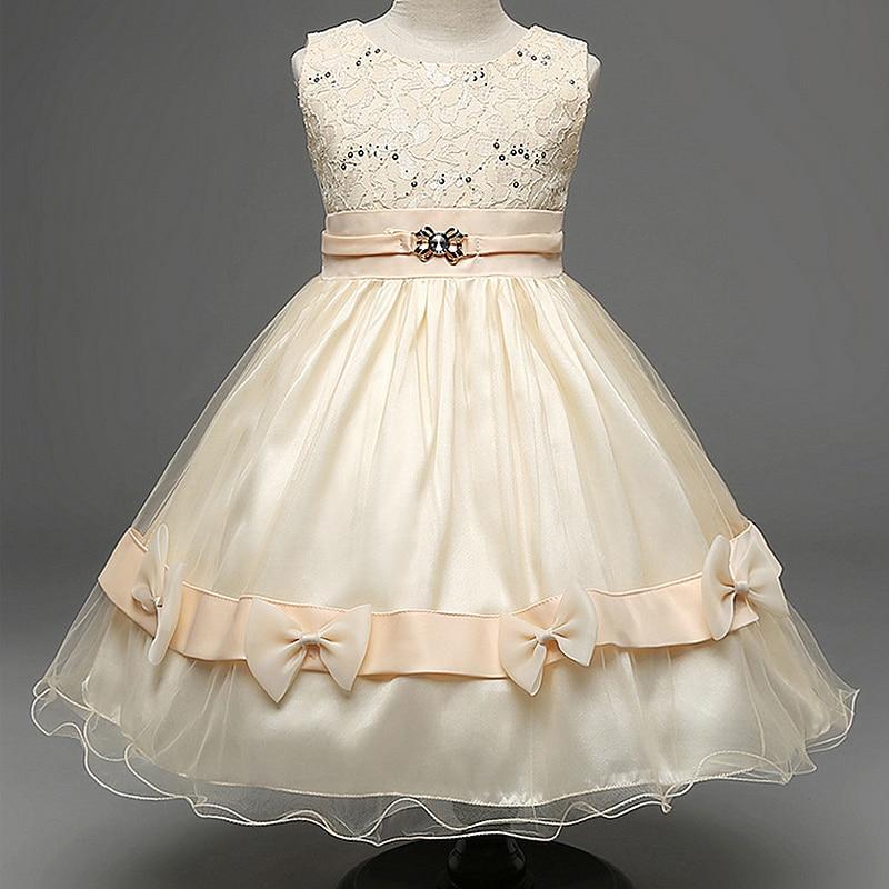 High Quality Brand Girl Lace Princess Dress with Diamond Bow Kids Girl Wedding Dress Infants Bridesmaid Clothes Summer Vestidos<br>