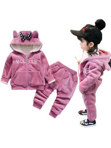 Clothing-Set Suit Pants Hoodies Baby-Girls Kids Winter Cotton Thick Plush for And Children