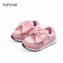 TOPSTAR Autumn 2017 new Children's shoes chaussure super perfect bowknot flat girls shoes sneakers Super soft and comfortable(China)