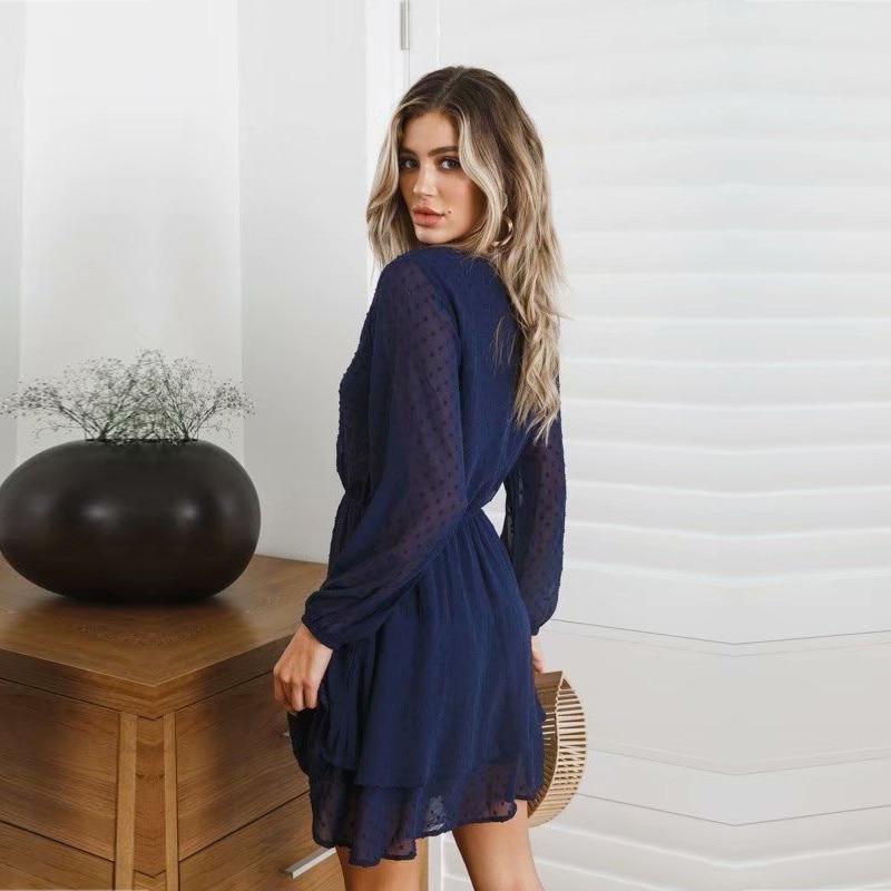 yinlinhe Blue Polka Dot Dress Women Long Sleeve Transparent Elegant Autumn Dress Elasticity Waist Ruffles Mini Vestido 1
