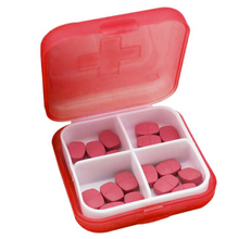 4 Slots Square Travel Pill Cases Outdoor Vitamin Container Cases Medicines Organizer Pill Box Portable Medicine Holder Storage(China)