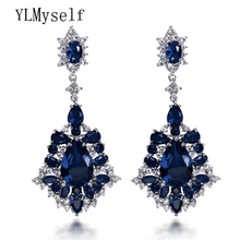 Latest collection fashion women accessories 2017 blue and red crystal jewelry brincos long dangling big earrings(China)
