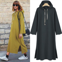 Lguc.H 2018 Spring Long Dress Women's Trendy Casual Cotton Hoodies Dress Europe America Tide Solid knitted Dresses Plus Size 4XL(China)