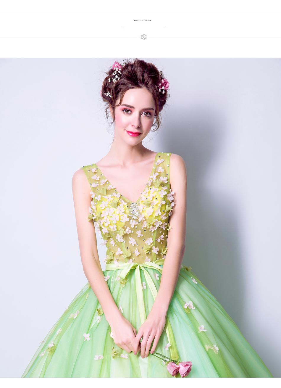 Angel Wedding Dress Marriage Bride Bridal Gown Vestido De Noiva 2017Soft powder, Qingjian Lvxian beauty, petals, green 9718 9