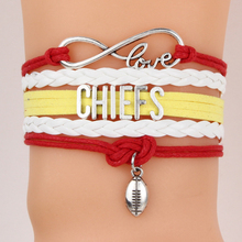 Infinity Love Chiefs NFL Football Team Bracelet Custom Theme Kansas City Sport wristband friendship Bracelets & Bangles Jewelry