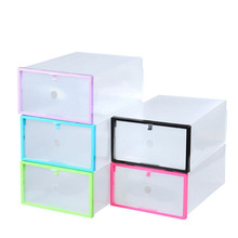 NEW Multifunction Plastic Shoe Box Transparent Crystal Storage Shoebox Household DIY Clamshell Shoebox Storage Box 6 Colores