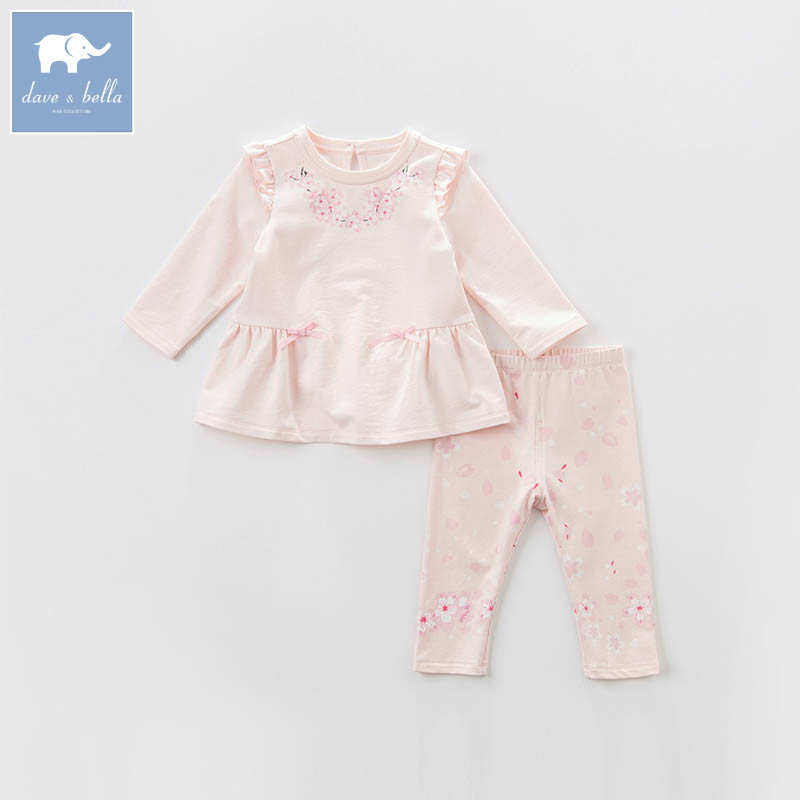 DBZ7440 dave bella spring baby girls clothing sets kids print suit children toddler outfits high quality clothes<br>