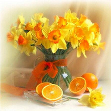Diamond Embroidery Painting DIY Diamond Painting 5D Cross Stitch round drill Decor Yellow lilies and fruit oranges KL443