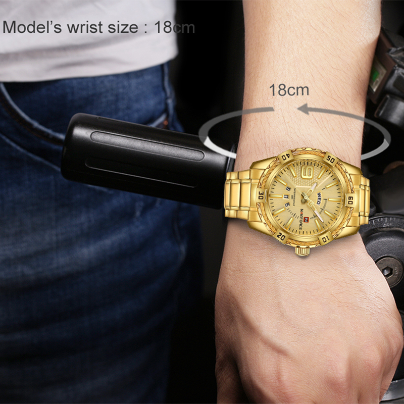 NAVIFORCE Luxury Brand Mens Sport Watch Gold Full Steel Quartz Watches Men Date Waterproof Military Clock Man relogio masculino