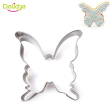 Delidge 1pc Stainless Steel Butterfly Cookie Cutter 3D Fondant Sugarcraft Biscuit  Baking Mold Wedding Cake Decoration Tools
