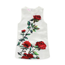 Summer Sleeveless Red Rose Print Baby Girls Sun Dress White Formal Wedding Dress 3-10T