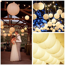 5PCS Hot Sale High Quanlity LED Light White Balloon Hanging Paper Lantern Handicraft Wedding Party Decor(China)