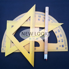 Triangular plate triangular ruler compasses four sets of wood drawing teaching aids teaching large