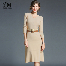 Buy YuooMuoo New Womens Autumn Winter Elegant Office Dress Belt Casual Knitted Ladies Business Work Dress Fitted Bodycon Dress for $27.95 in AliExpress store