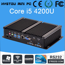 3 Year Warranty HYSTOU Core i5 4200U Fanless Mini PC Desktop 16GB RAM 1TB HDD Industrial PC 256GB SSD i5 Mini PC Windows 7 4K HD