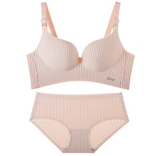 C pretty little girl's underwear and panty set with solid color and simple strips pattern push up type bra