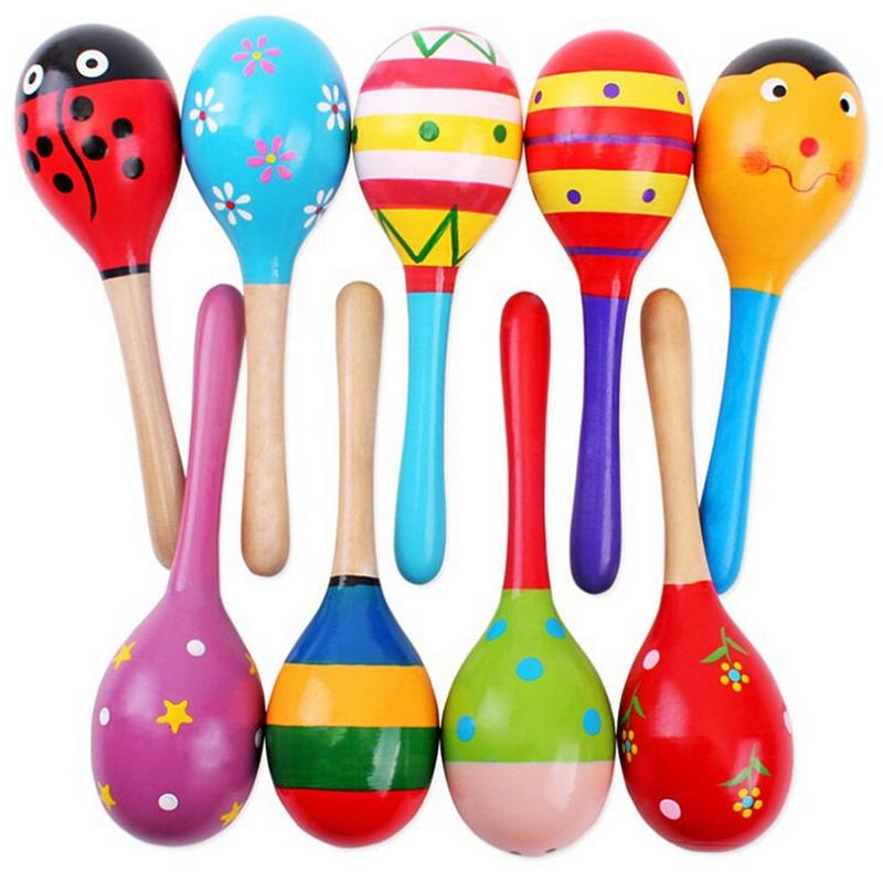1Pcs Wooden Maraca Wood Rattles Kids Musical Party favor Child Baby shaker Toy Hot Baby Baby Rattles Mobiles #10(China)
