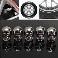 Car Valve Caps 2017 Fashion Red Eyes Evil Skull Tyre Air Valve Stem Dust Caps For Car Truck Bike Top