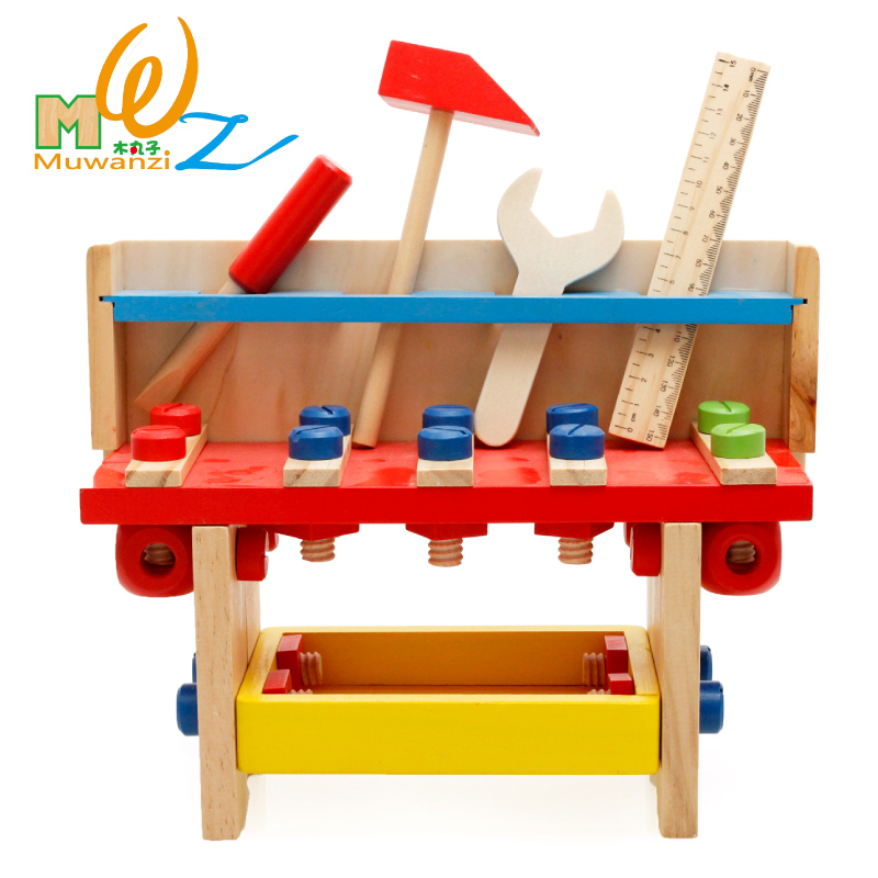 Colorful wooden multifunctional emulational little enginers tool sets nut disassembling play house toy 1set<br>
