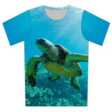 2017 Harajuku Style 3D T Shirt Coral sea turtles whales coast Printed T-Shirt Women/Men Crewneck Clothes Tops Plus Size XS-6XL