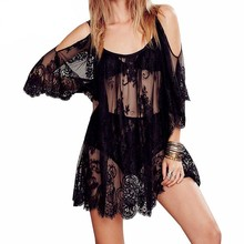 Pareo Beach Cover Up Crochet Patchwork Beachwear Lace Summer Dress Sexy Bikini Swimsuit Solid Cover-Ups