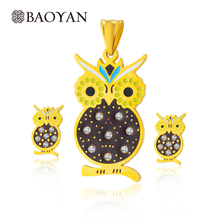 Owl Pendant Necklace Set Gold Color 316L Stainless Steel Jewelry Set For Women Fashion Jewellery Sets Hallowmas Party Gift N4