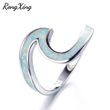 RongXing 925 Sterling Silver Filled White Fire Opal Wave Rings Women Men Fashion Jewelry Vintage Wedding Engagement Rings RS0200(China)