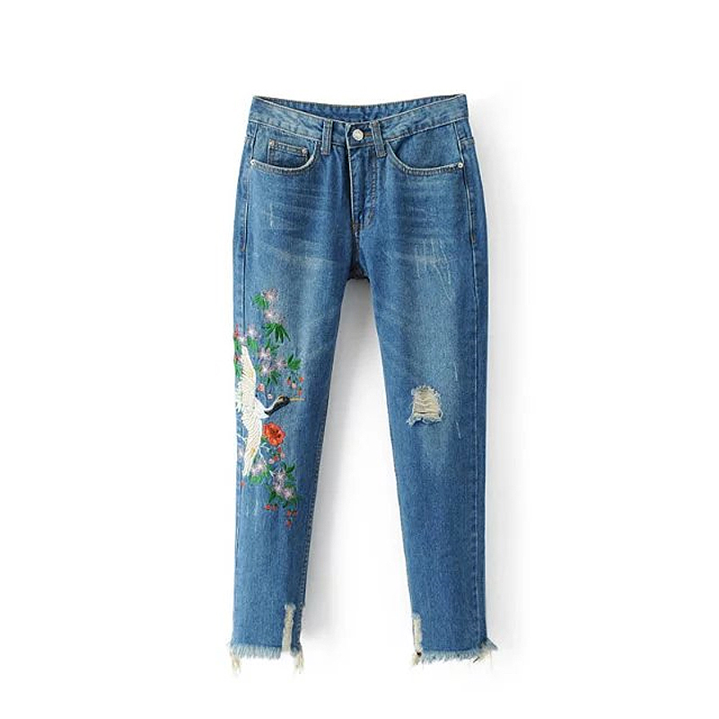 CK442 New Regular Woman Jeans With Embroidery Crane Slim Hole Bleached Denim Pencil Pants Women 2017 Summer Casual Womens JeansÎäåæäà è àêñåññóàðû<br><br>
