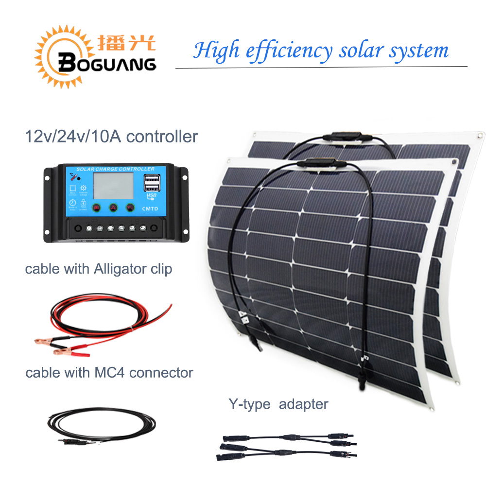 100W 200W Flexible Solar Panel 10A//20A regulation battery charge for 12V//24V Kit