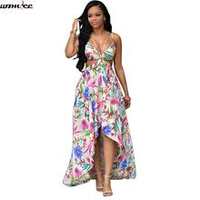 2017 Womens Beach Dress Plus Size 3xl Floral Print Holiday Dress Maxi Summer Sexy Hollow Out Boho Dresses White Strapless