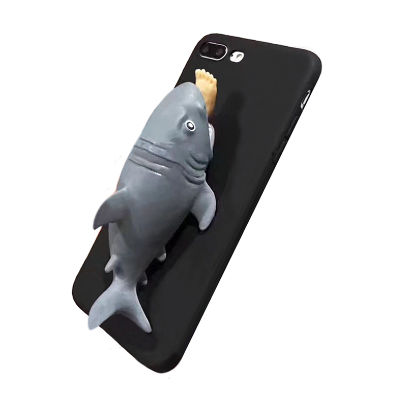 2017 Fashion cartoon pvc joy relax venting toy sock pinch piranha white shark killer whale spoot leg cell phones case For Iphone(China (Mainland))