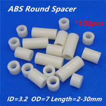 100pcs M3 White Nylon ABS Round Hollow Non-Threaded Standoff Spacer PCB Board Screw Bolt Long Washer ID=3.2 OD=7(China)