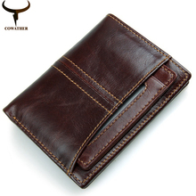 COWATHER top quality cow genuine leather mens wallet for men 2016 new design vertical and cross coffee purse R-8107free shipping(China)