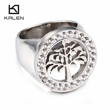 2017 Kalen New Fashion Engagement Wedding Rings Stainless Steel Silver Color Rhinestone Tree of Life Finger Rings For Women Gift(China)