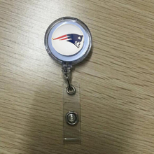 New England Patriots Stretchable ID Badge Holder Football Keychain Keyring Name Tag Holder Keychain Brooch 10PCS