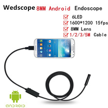 HD Endoscope 8MM 6 LED USB Android PC Car Endoscope Waterproof Inspection With 1M/2M/5M Cable Borescope Video Endoscope Camera