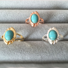 Wholesale 10pcs 2016 New Vintage Evil Eye Ring Gold Silver Rose Gold Color Natural Stone Wedding Rings Size 6(China)