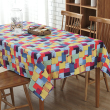 Colored square graffiti canvas Table Cloth  Tovaglia rettangolare Tovaglia plastificata Home Decoration