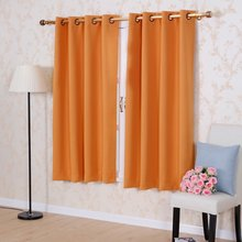 Solid color Thermal Insulated Blackout curtains 8 Grommets Solid color Drapes Modern Window Curtain for bedroom Single panel(China)