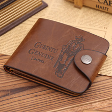 Fashion Sale New Retro Men's Wallets 10 Patterns Classic Hasp Casual Brown 3 Folds Photo Bit ID Credit Card Holders Purse Wallet(China)