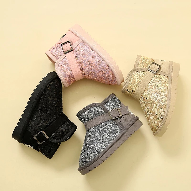 2016 brand design warm sequins Suede thick berber fleece plush infant boy girl Winter shoes kids girls children ankle snow boots<br>