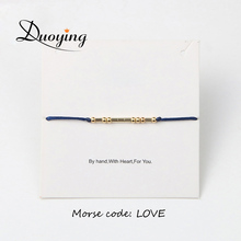 Duoying Morse Code Bracelet Custom LOVE HOPE FRIEND Gold/Silver Color Personalized Hidden Message Bracelet for Women